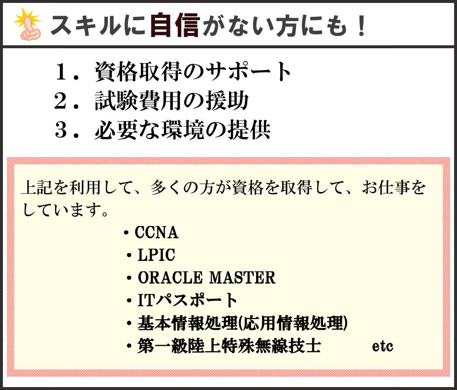 スキルに自信がない方にも!1.資格取得のサポート 2.試験費用の援助 3.必要な環境の提供 上記を利用して、多くの方が資格を取得して、お仕事をしています。・CCNA・LPIC・ORACLEMASTER・ITパスポート・基本情報処理(応用情報処理)・第一級陸上特殊無線技士 etc