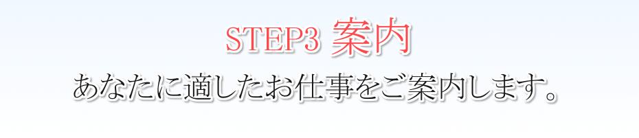 STEP3 案内 あなたに適したお仕事をご案内します。
